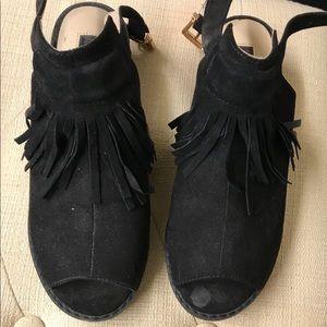 Top Shop Low Fringe Black Booties